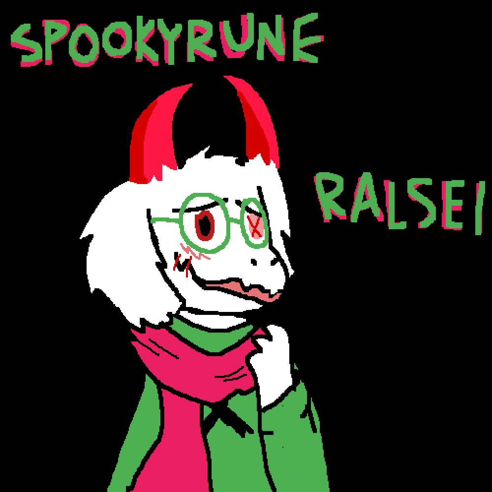 Spookyrune Ralsei - No hat by Unsolvable