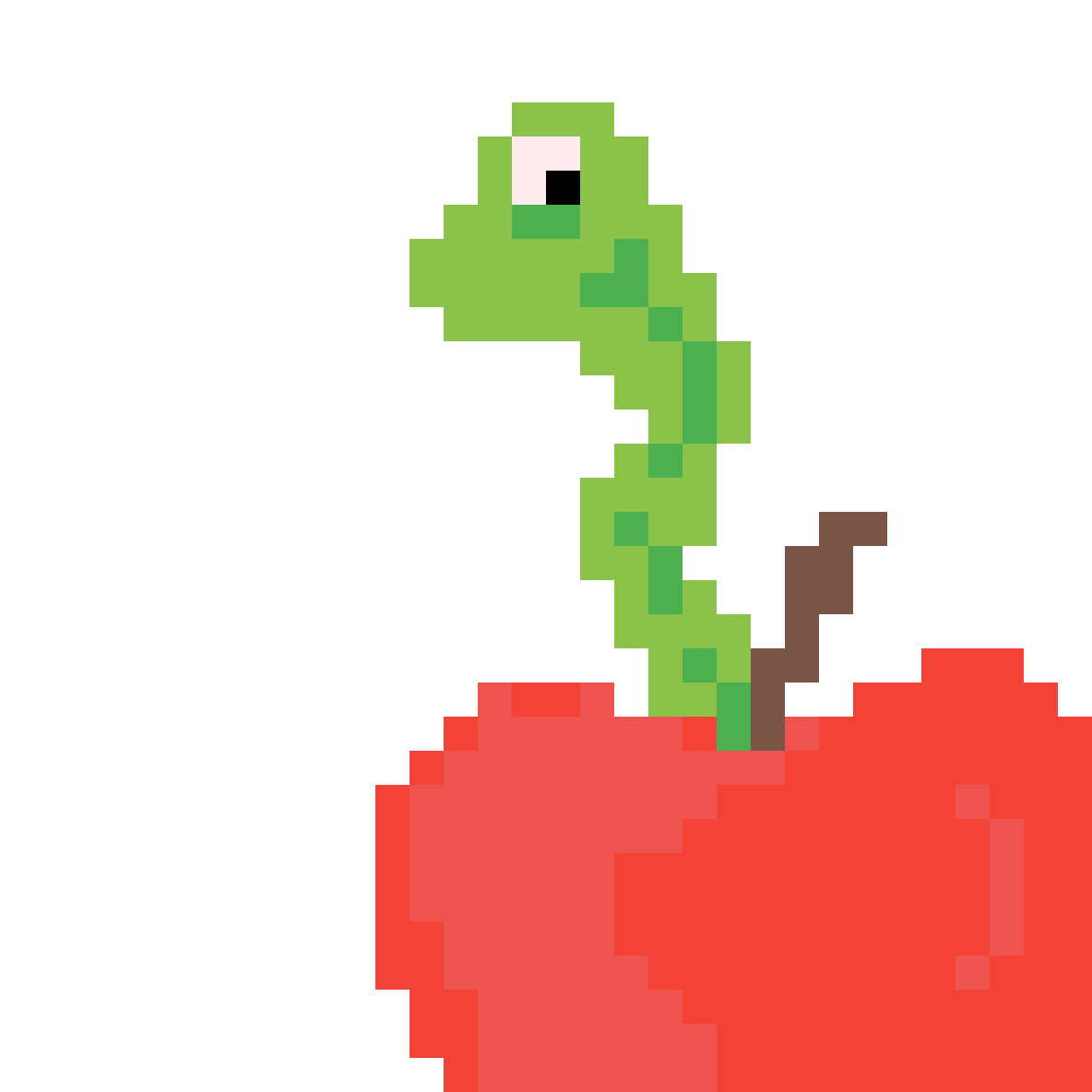 Worm and apple by Montorial