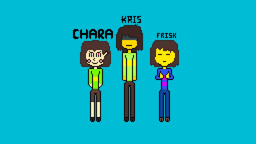 Undertale/Delatrune Kris, Frisk, and Chara by MangleTangle