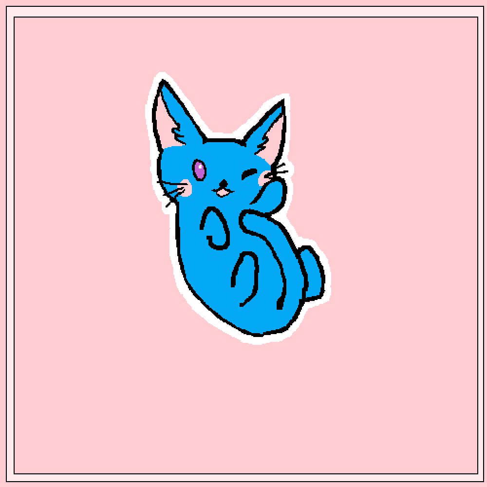 A blue cat with purple eyes