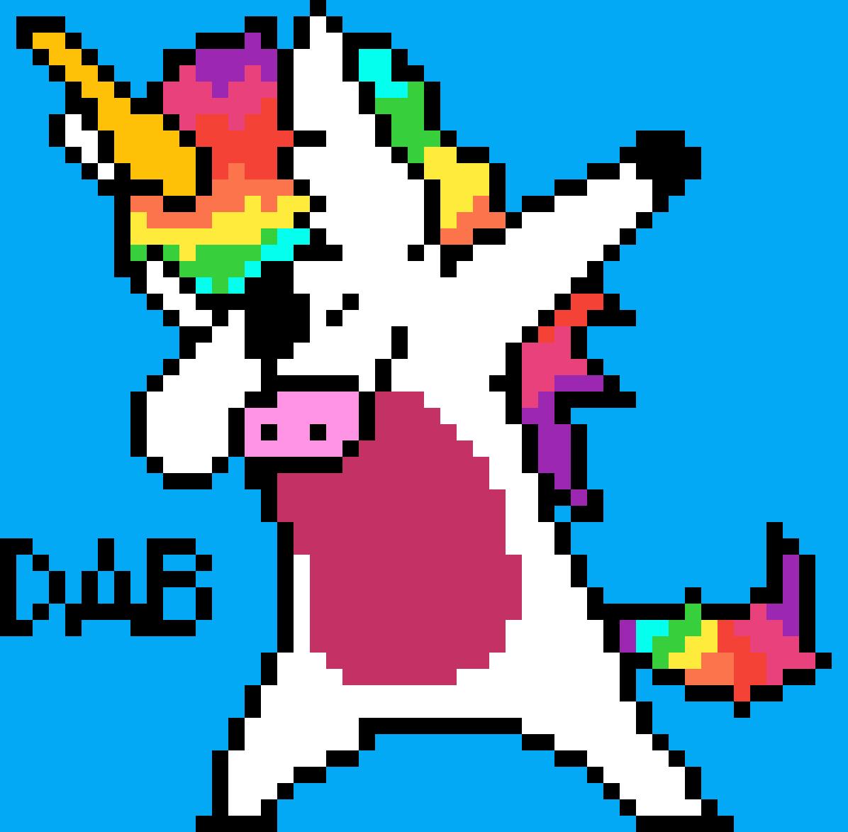 Minecraft Pixel Art Dabbing Unicorn