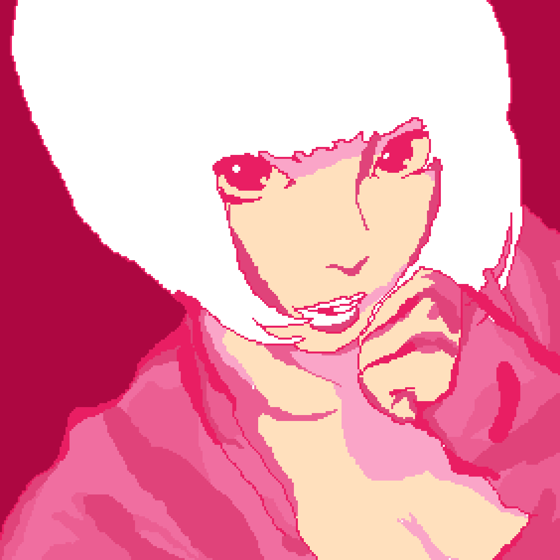 WIP short haired girl pink monochromatic practice by Hmusqe