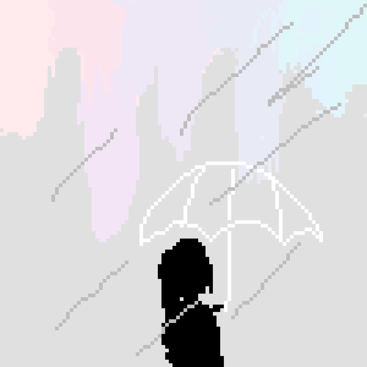 ? raining ? silhouette ? pastel colours  by cloversapphire