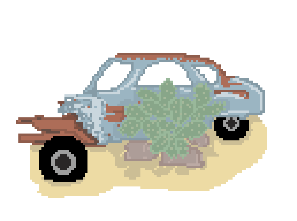 rusted car with a cactus by gingerrroot