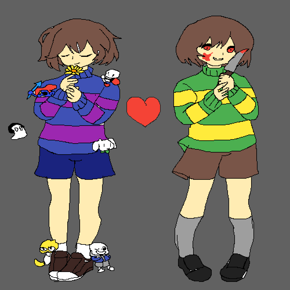 Red Soul / Frisk & Chara  by 123EarthWS