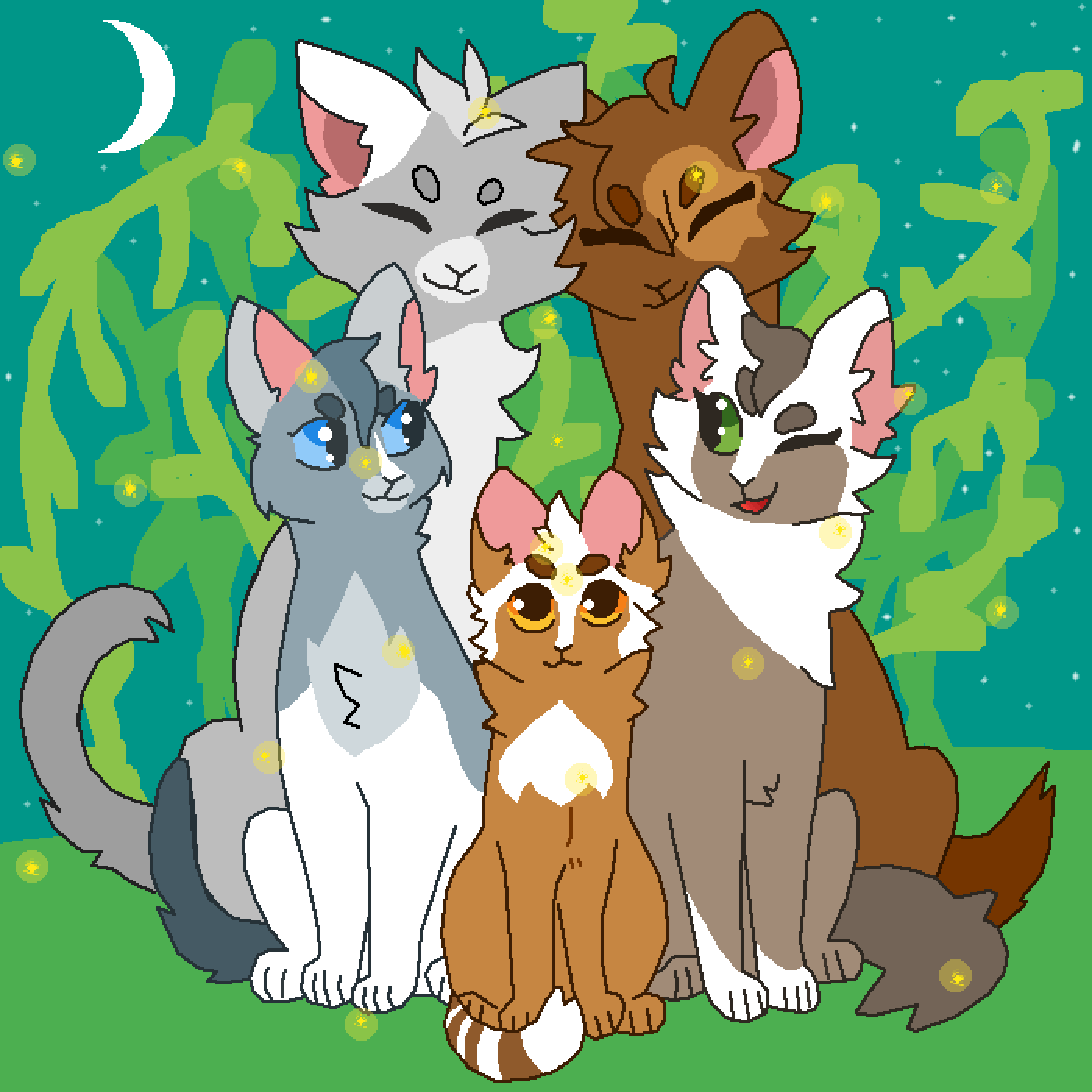 Starlingfeather, Mousetail, Skypaw, Dustkit, and Stormp