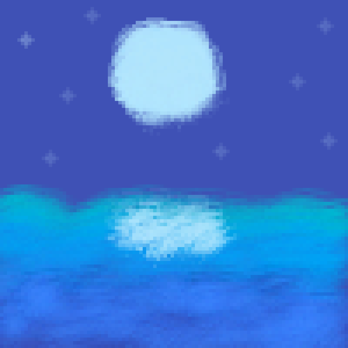 moon over ocean by lexymaster