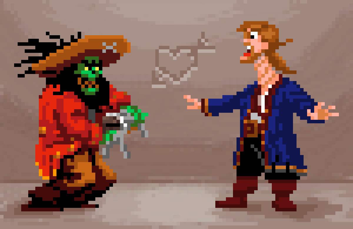 Voodoofun with LeChuck and Guybrush (necktwist) by mamanon