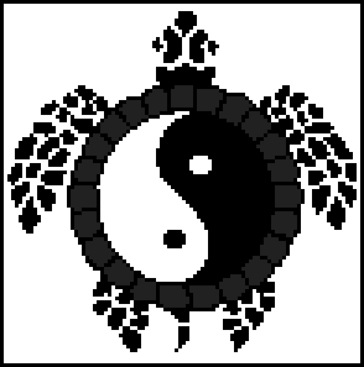 Yin Yang Turtle (Black and White) by RyeWolf
