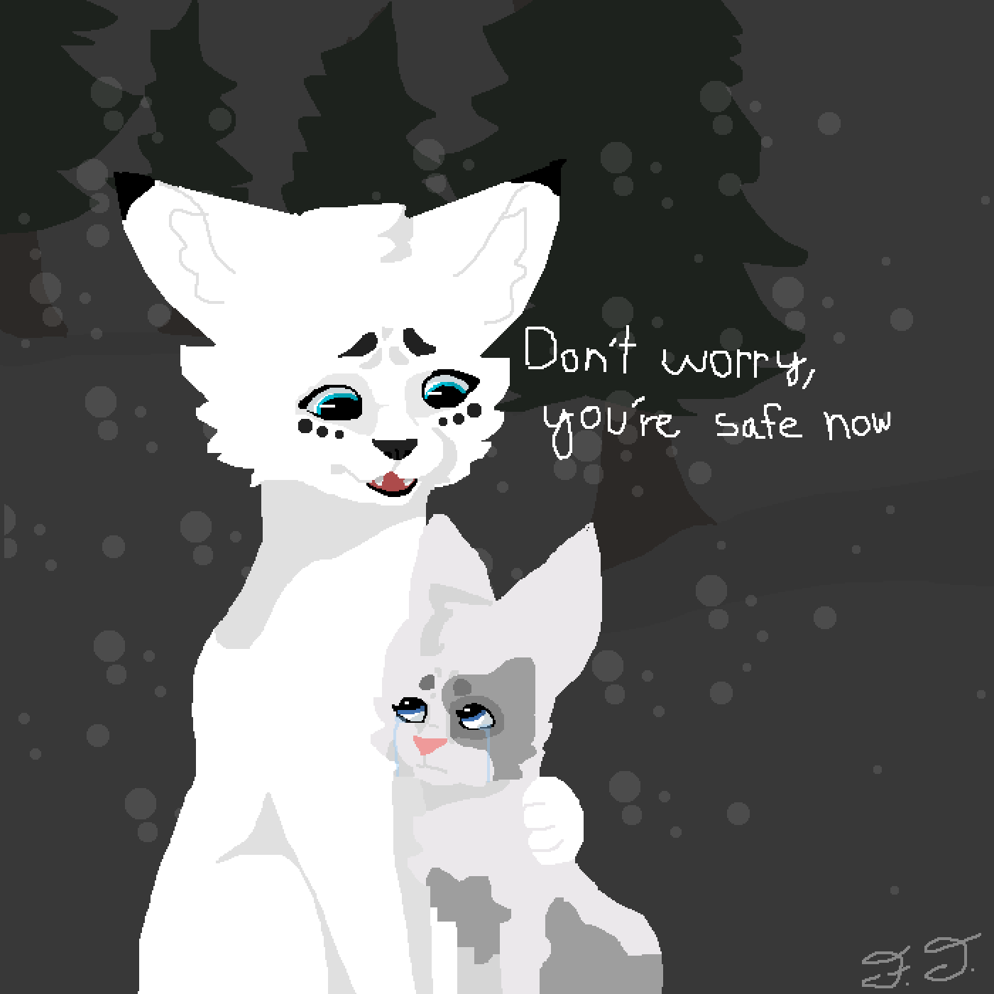 Snowfur and Mosskit by The-Frizzler