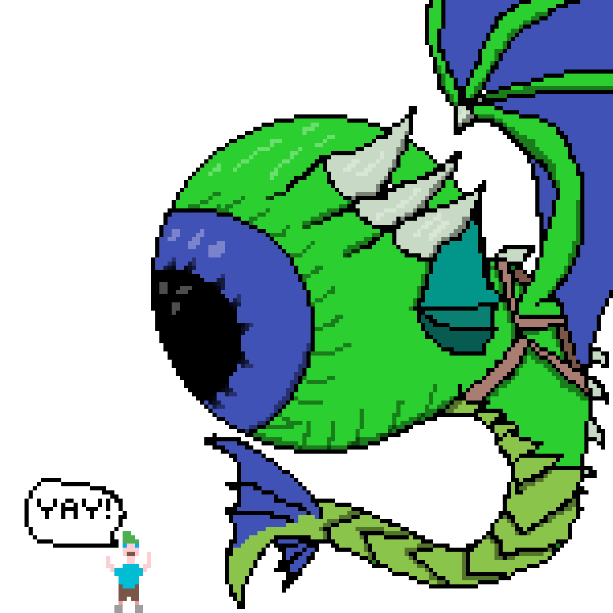 giant septiceye dragon and little jack by Leviathan-boi