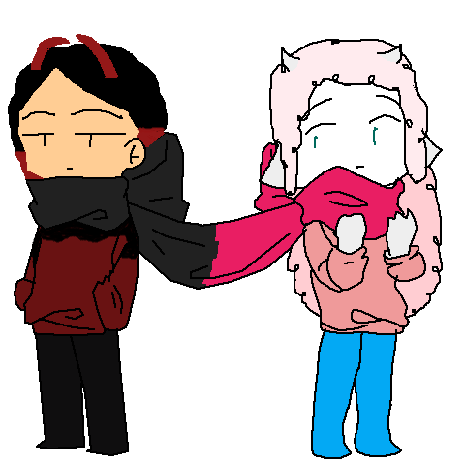 Scarlett sharing a scarf with Cotton  by Salty-Salt
