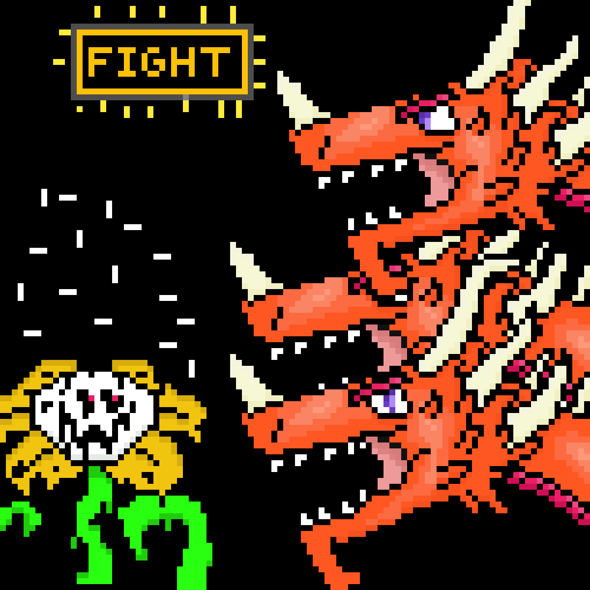 flowey vs crimson hydra by Leviathan-boi
