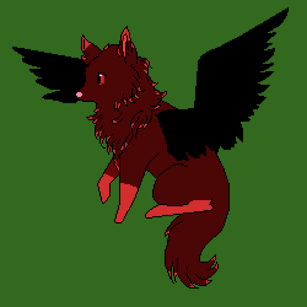 main-image-My OC Shadow as her wolf form with her blakc bird wings  by ILOVEPIXELART