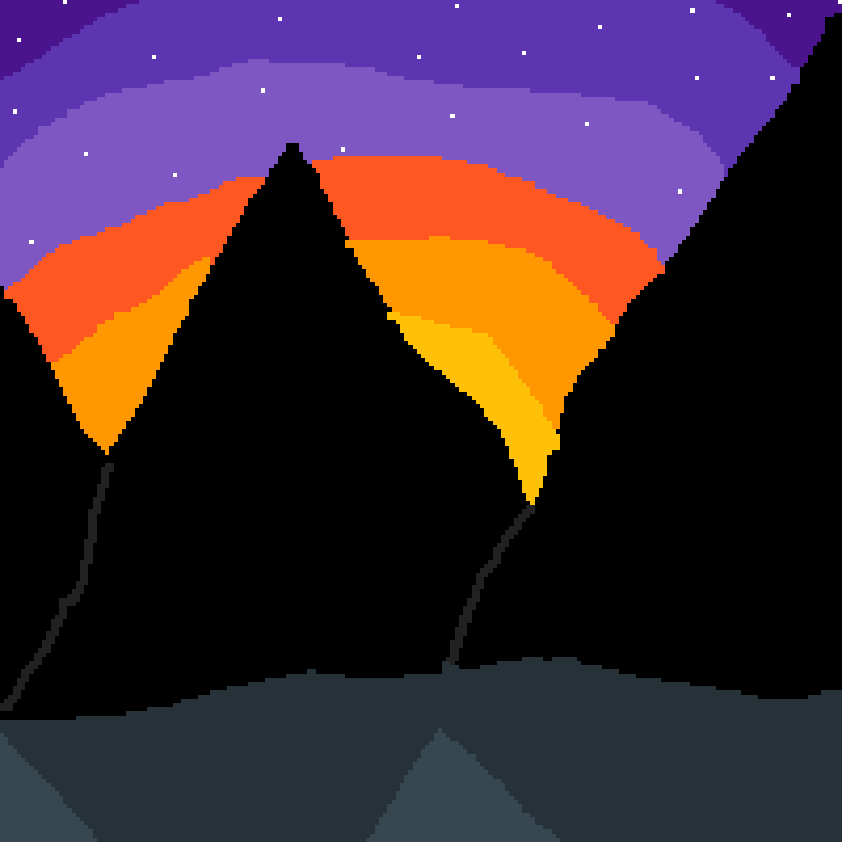 Silhouettes of a Mountain with snow  by Historypanda