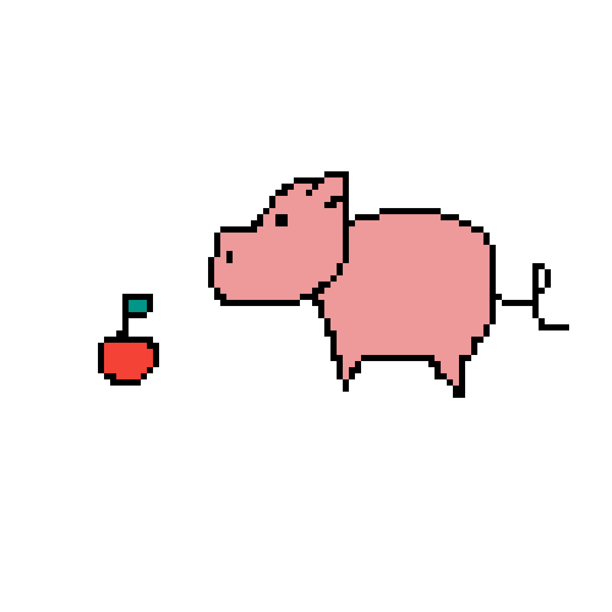 Pig and an apple by ArtisticGuy