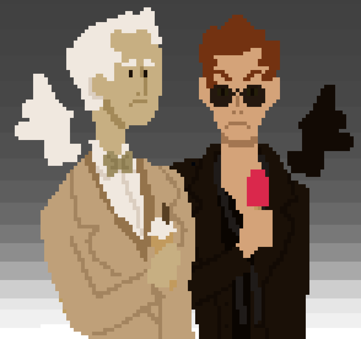 aziraphale and crowley suspiciously enjoying sweets by JayIsTired