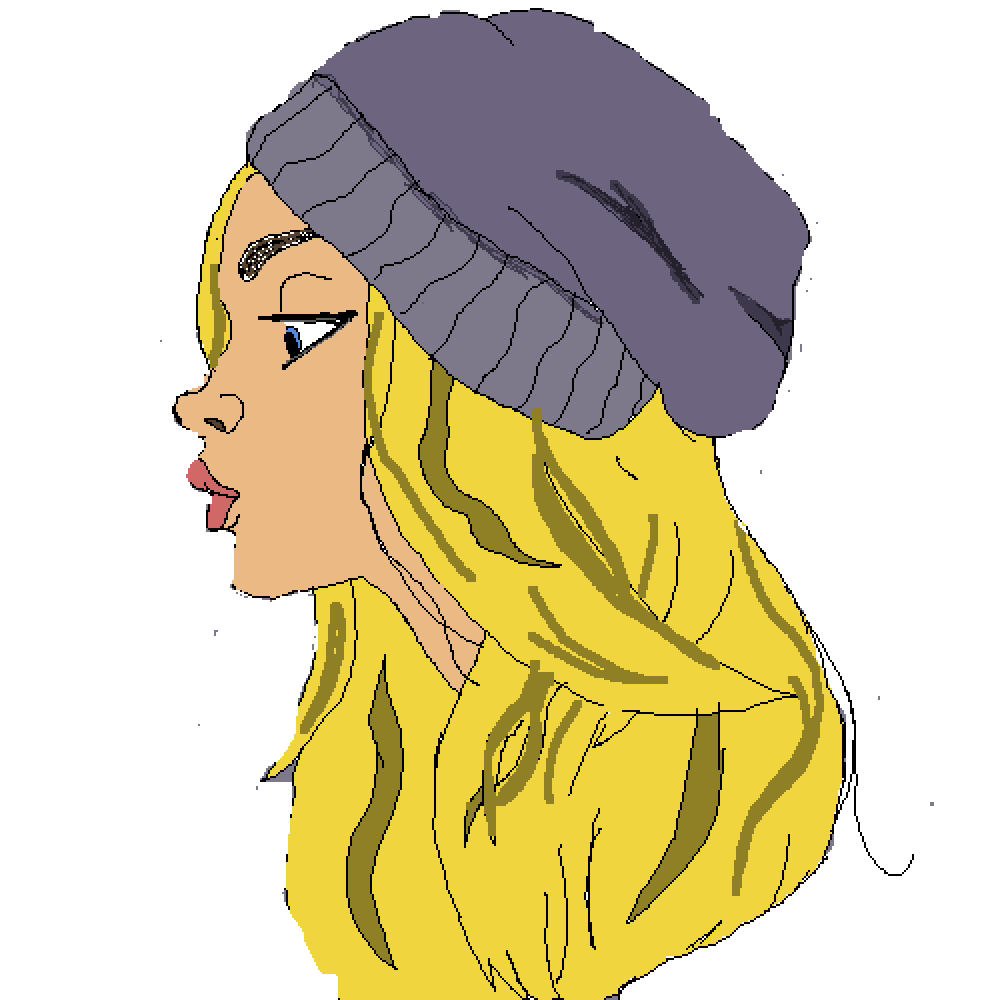 main-image-Blonde Girl With Purple Beanie  by Black-Fox