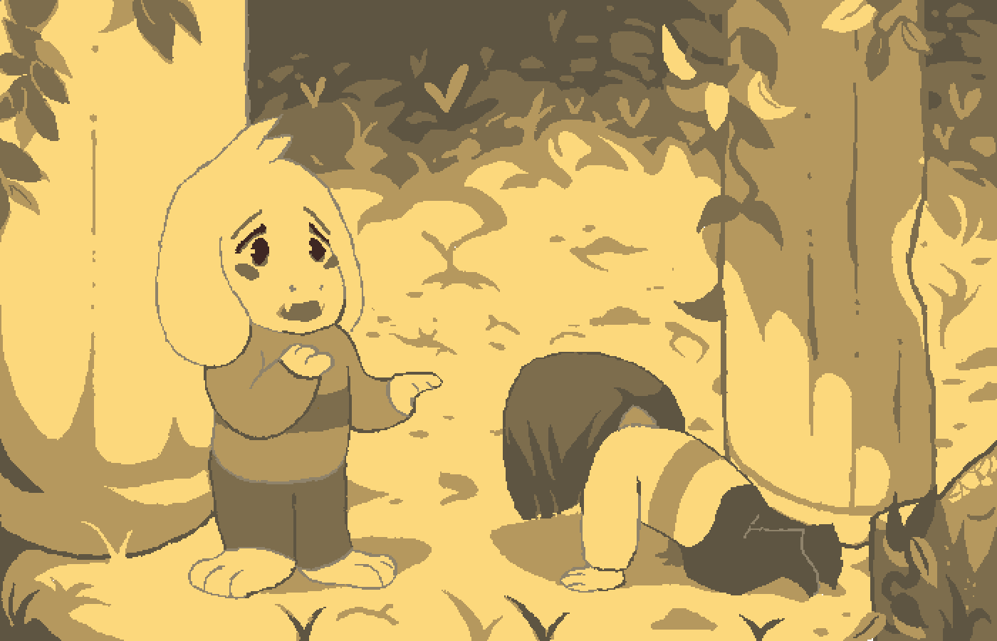 Undertale - Asriel and Chara Redraw