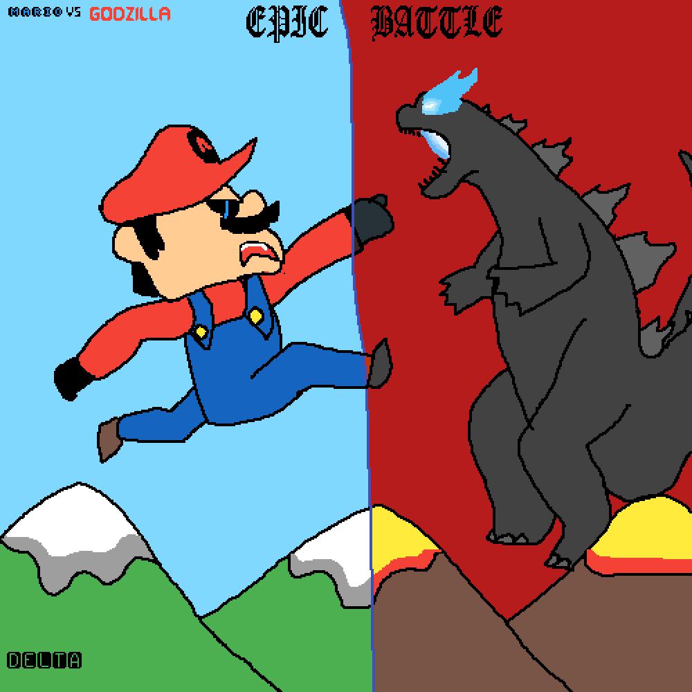 Mario vs. Godzilla by XenoZombie725