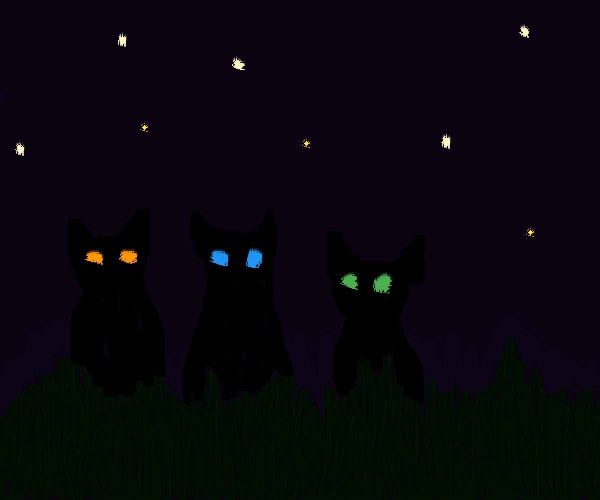 Cats in the Night by LunaArt