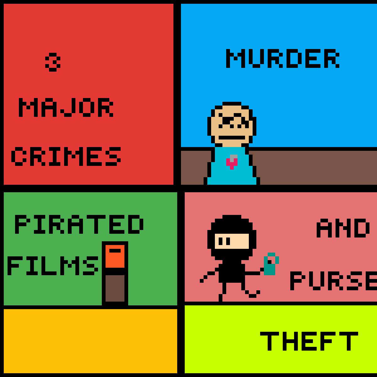 Pixel tropes: Arson  Murder and Jaywalking by Garfpixelfield