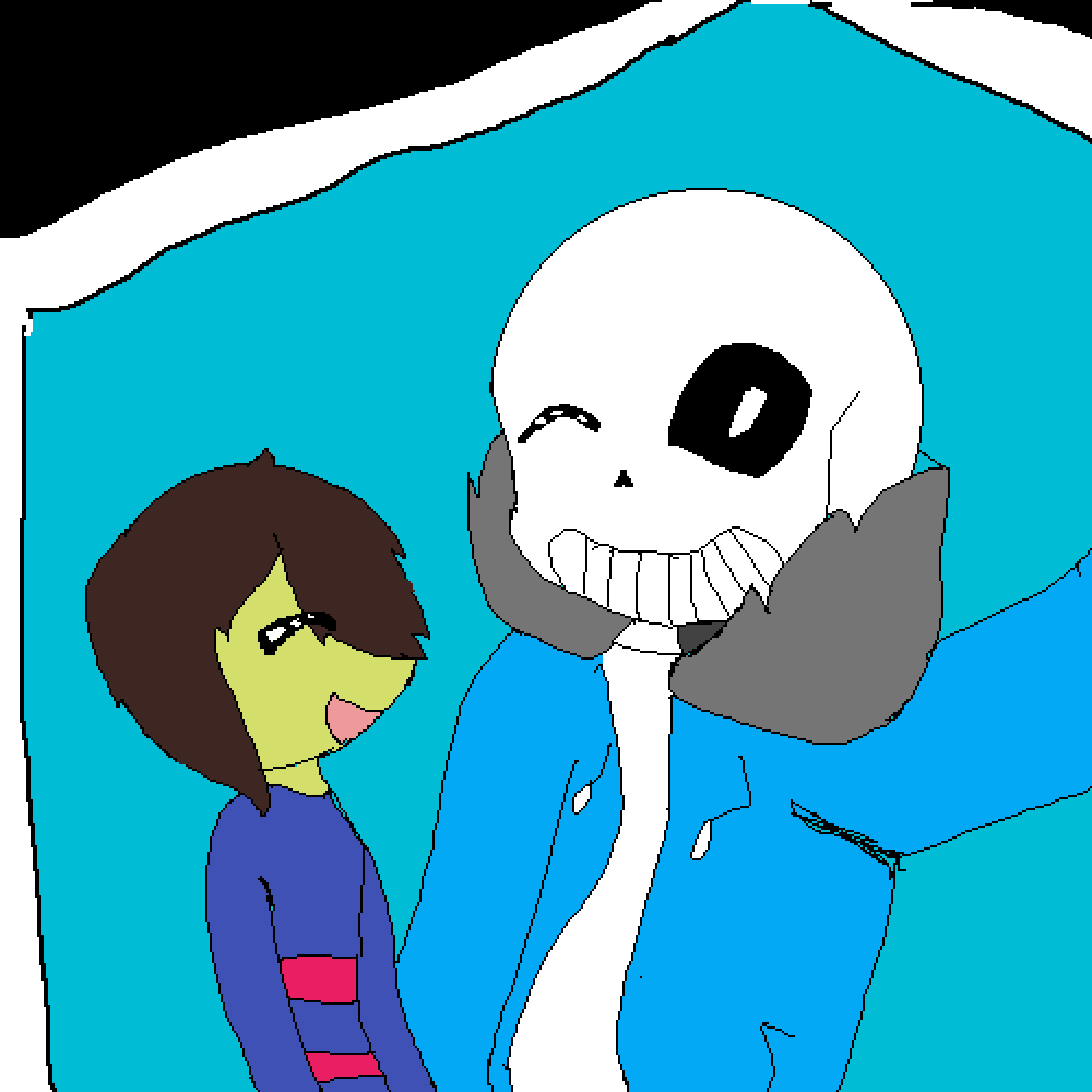 main-image-sans and frisk   by WolfTale-Chara