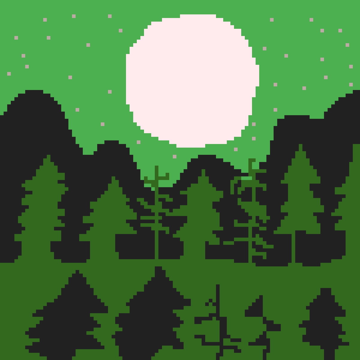 Night green forest by Trivino