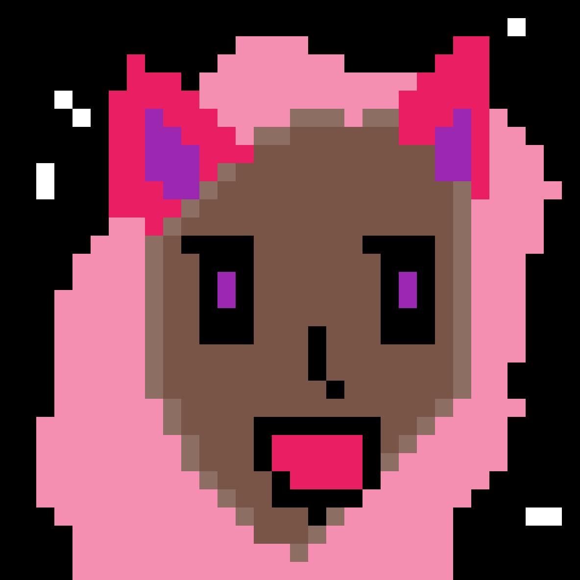 Pink anime cat girl