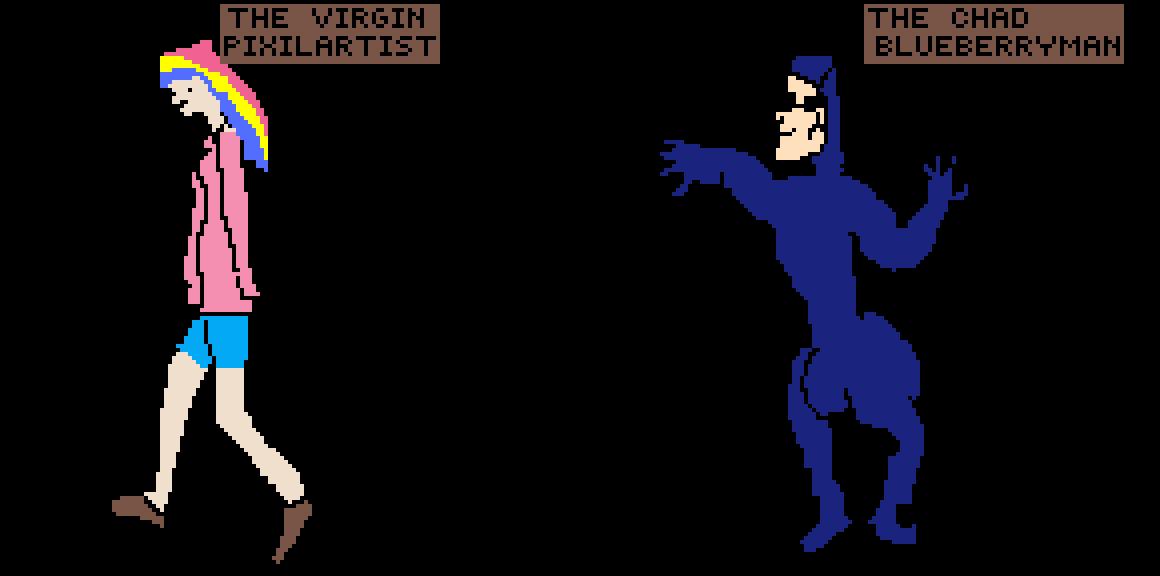The virgin pixilartist vs THE CHAD BLUEBERRYMAN by PixelPot8os76