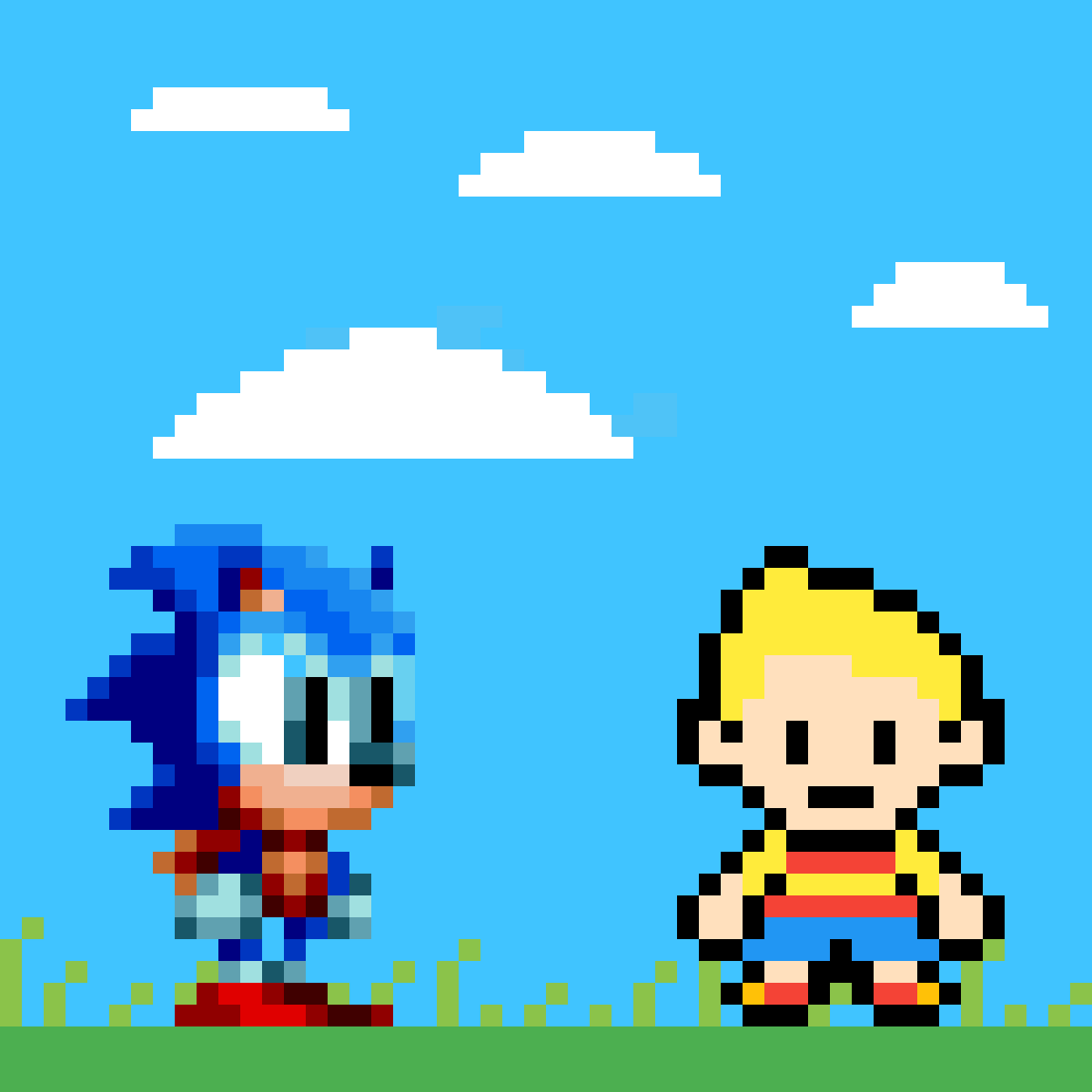 Classic Sonic meets Lucas  by om05196