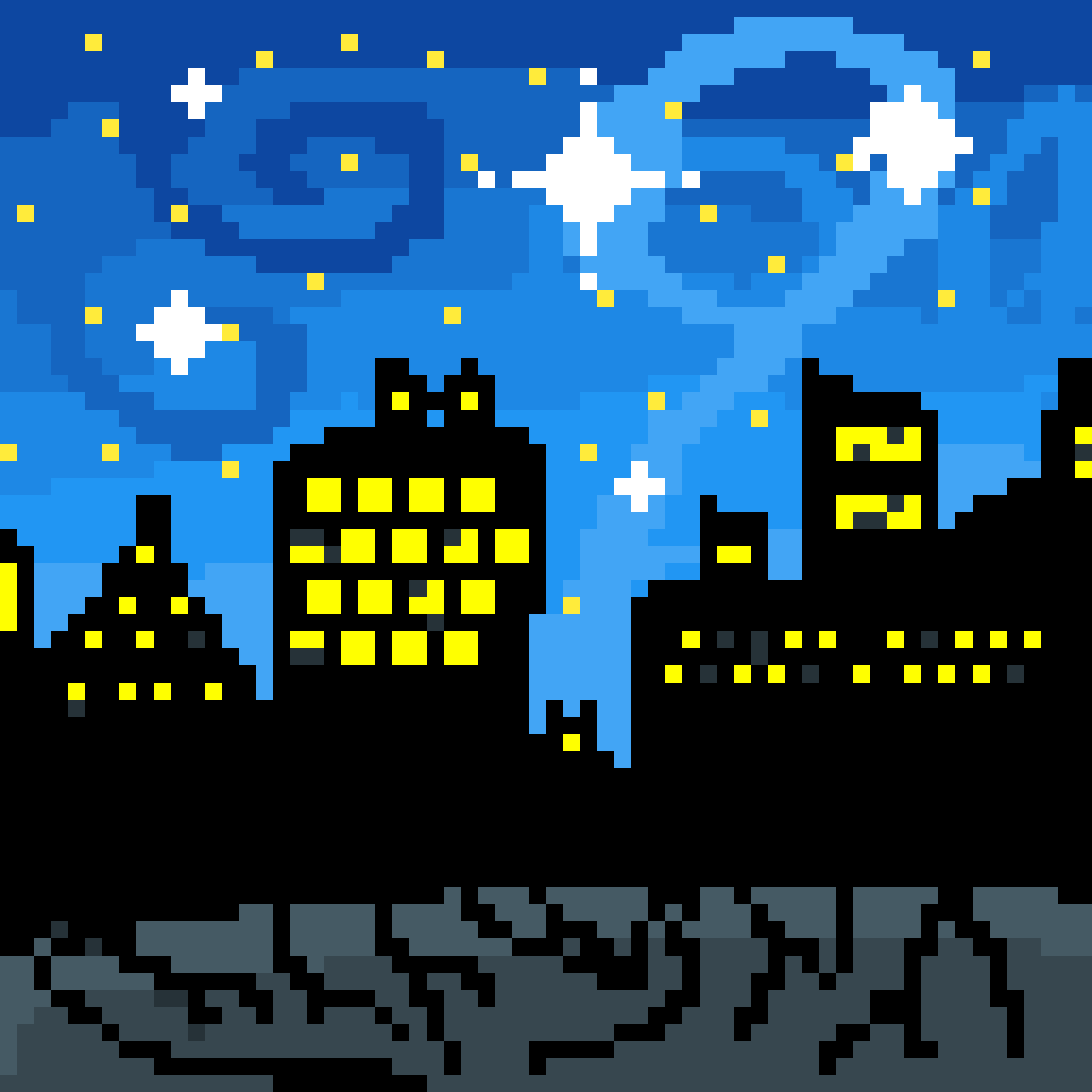 The broken city at night by PastelCookie