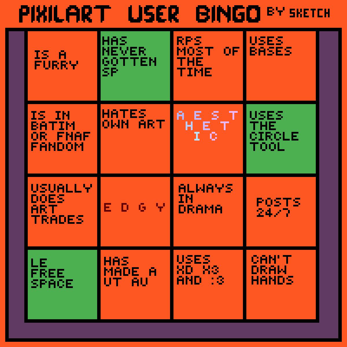 My Completion of @Sketchfloof's Pixilart Bingo by LordLuke