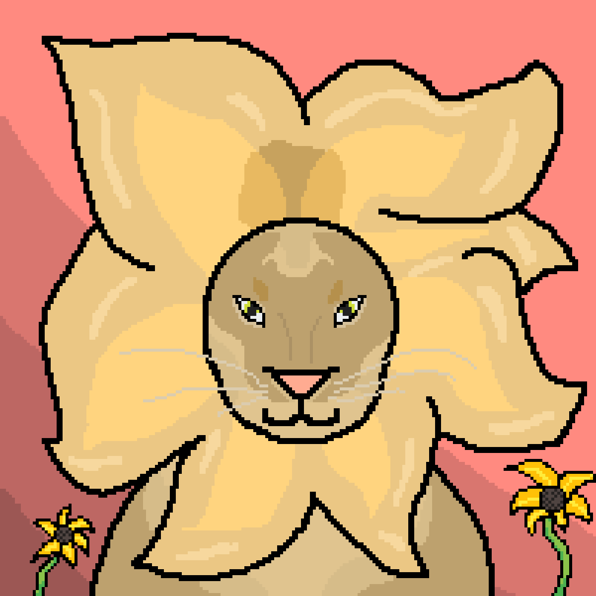 Lion with flowers by WolfieAnonymous