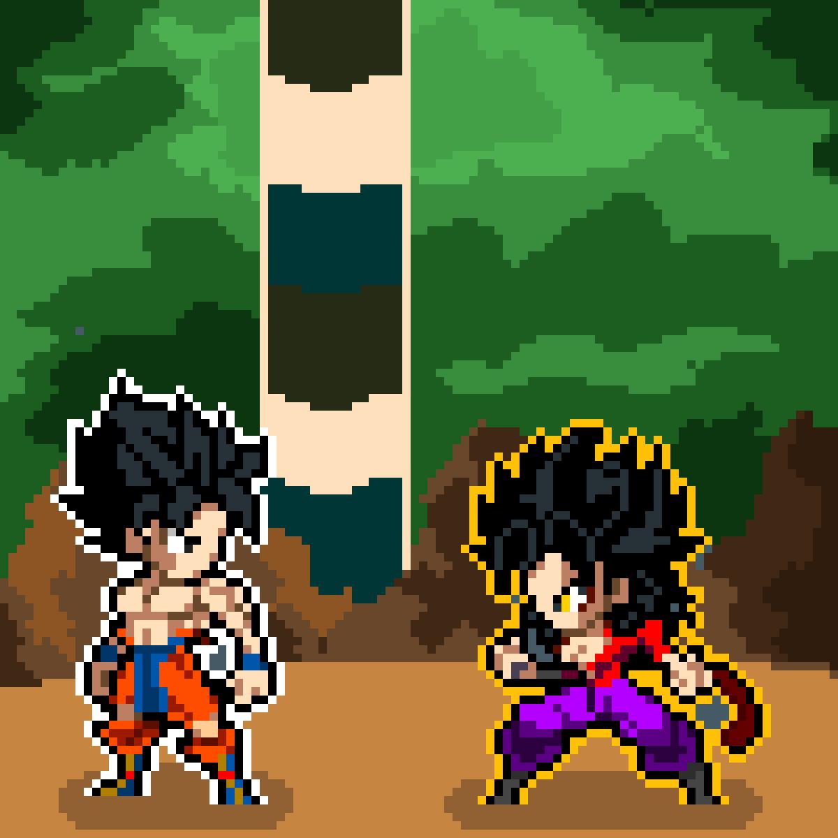Goku vs Ssj4 Caulifla by kuroikuroi