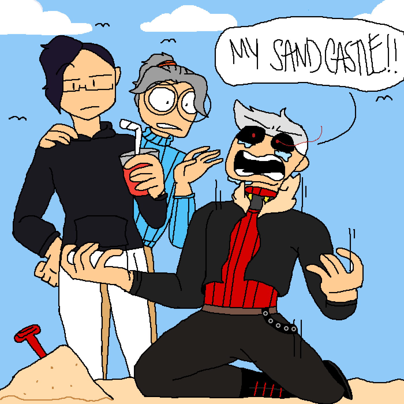 Oh no his sand castle  by science-san