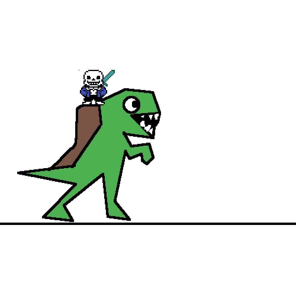 Sans on trex with diamond sword by detirm