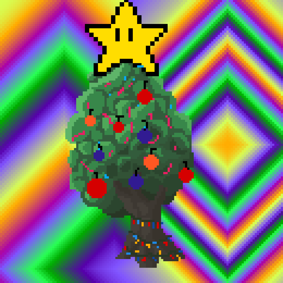 Christmas tree with lights by JakAttack