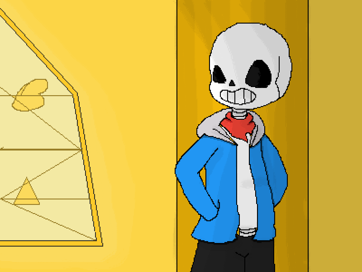 Sans at the judgement hall by Meowi-me