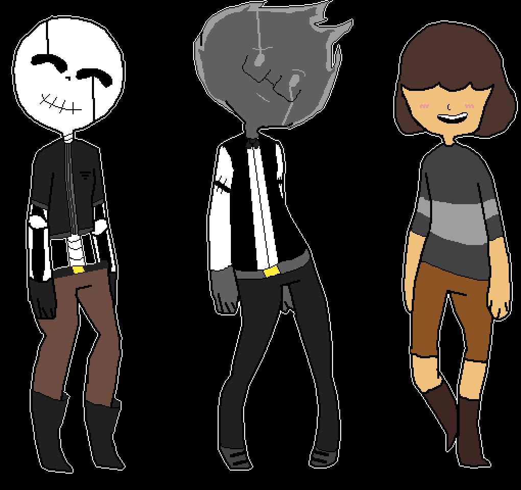 main-image-undervoid! papyrus, grillby and frisk  by science-san