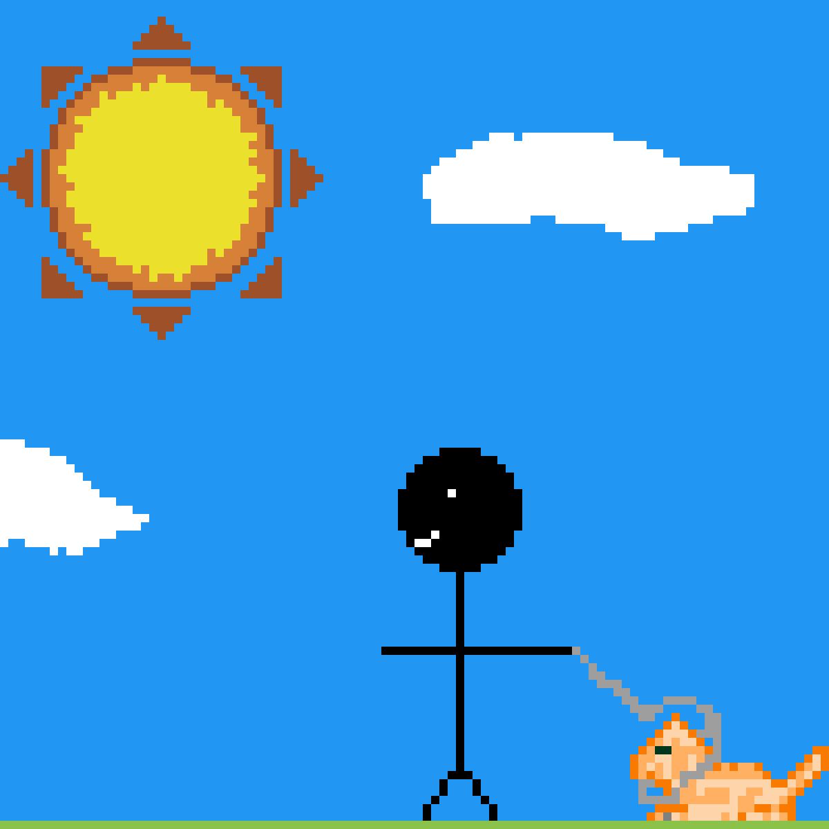 main-image-Black man walking with cat  by viczim23