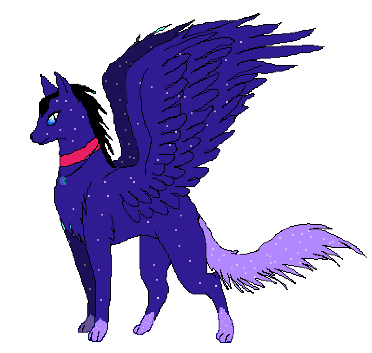 Galaxy Wolf With Wings By Lunapack