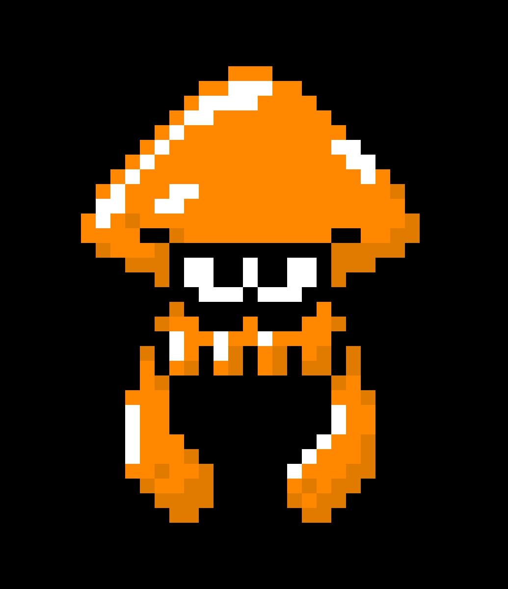 Pixilart Splatoon Squid Orange By Sirennoir