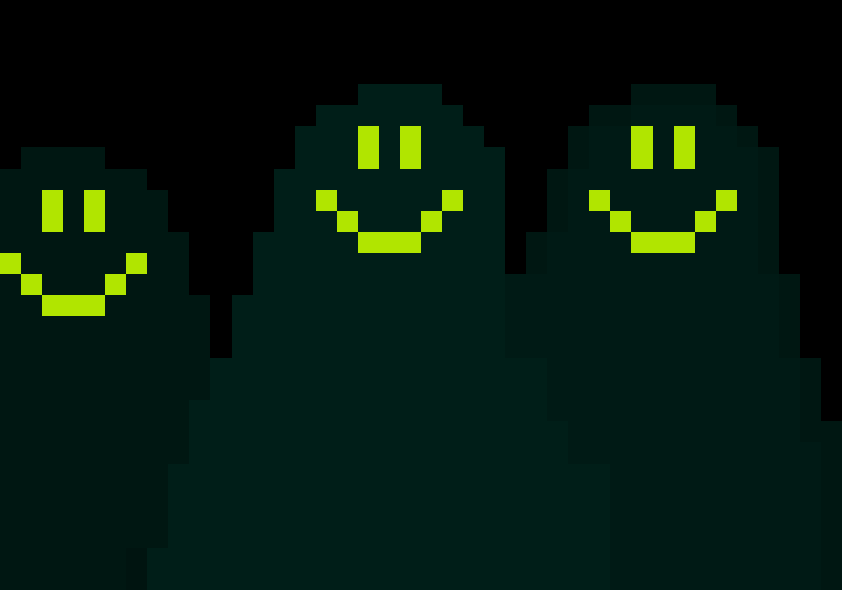 Three green ghosts by BOOCSI