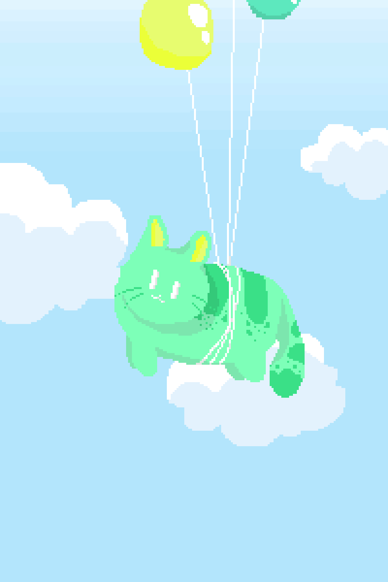 Cat floating up with Balloons by Kimeraa-Moon