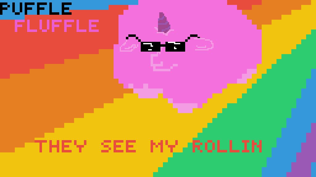 Pixilart - pink fluffy unicorns dancing on rainbows by