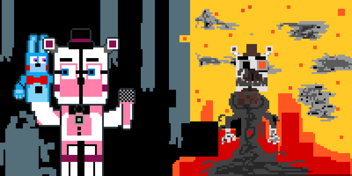 Pixilart - FT Freddy w Molten Freddy by Slash-gamesello