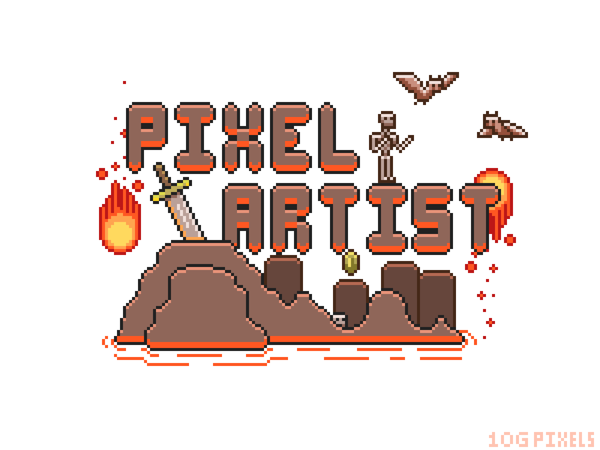 Pixel Artist TShirt design (Lava Level) UPDATED VERSION by 10Ggames