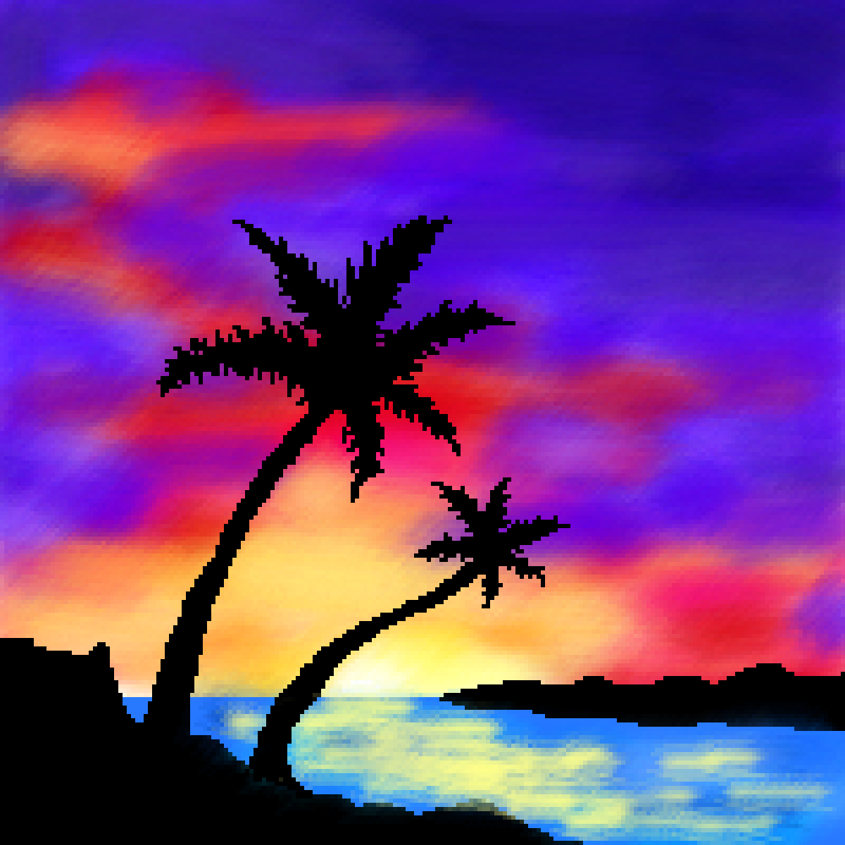 palm tree sunset by snoutybaboon