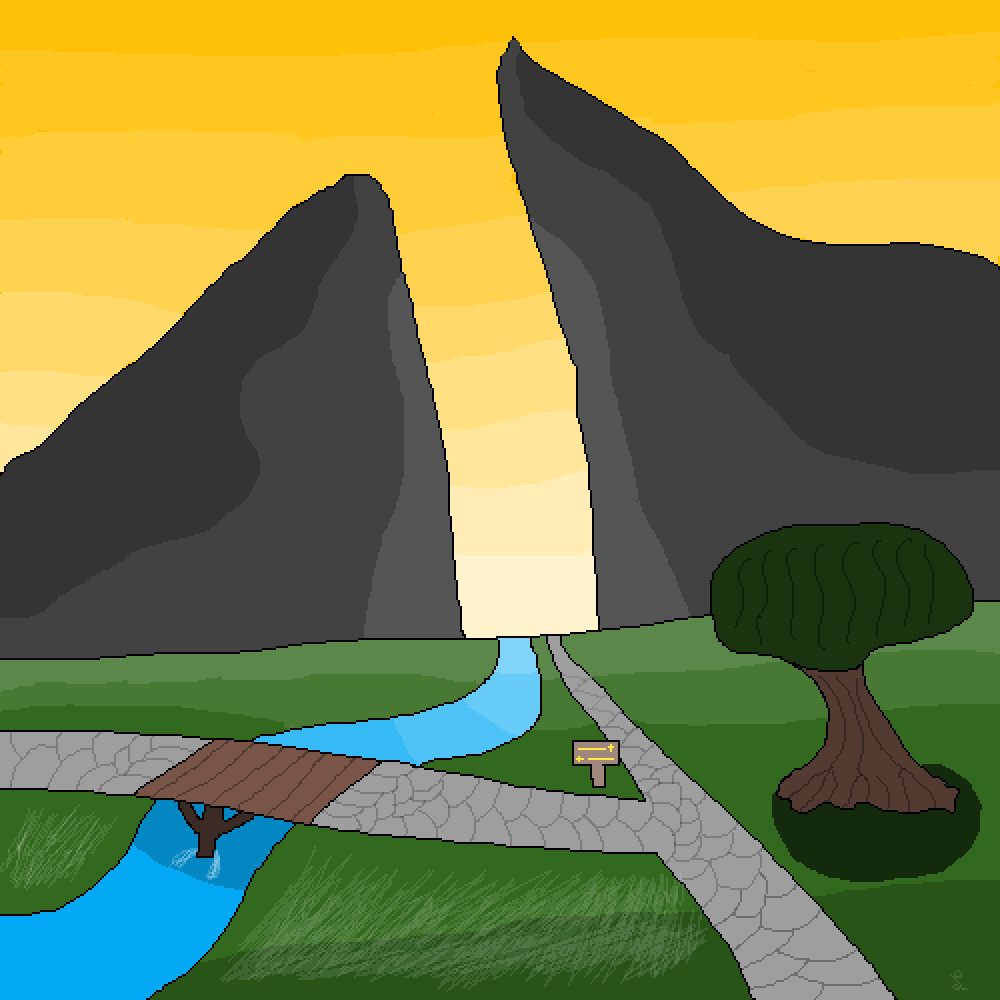 Valley Crossroads at Sunset by RoyalHylian01